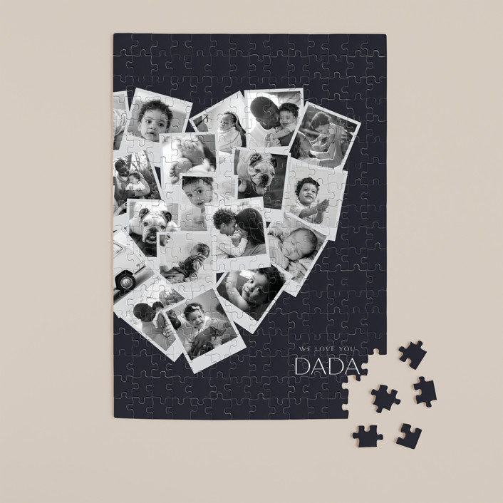 """""""Dada Collage Heart"""" - Modern 252 Piece Custom Puzzle in Navy by Minted."""