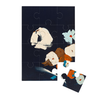 This is a blue puzzle by Caryn Owen called Abstract Botanical Navy Shadows #2.