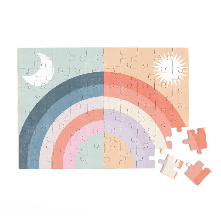 Double Rainbow with Moon and Sun 60 Piece Art Puzzle