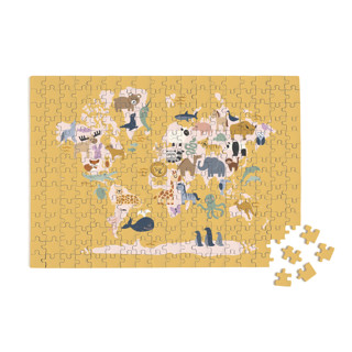 This is a yellow puzzle by Jessie Steury called Wild World Map.