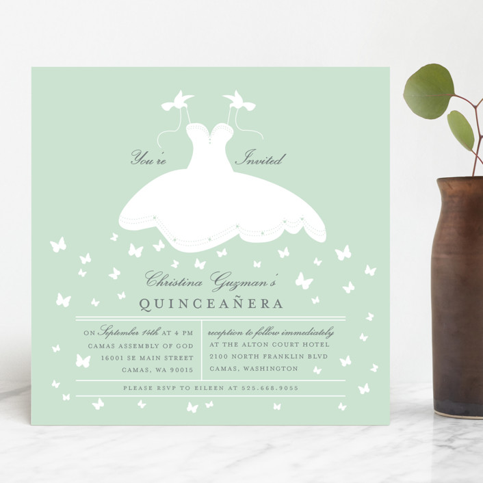 """Fluttering Dress"" - Quinceañera Invitations in Mint by Sheila Sunaryo."
