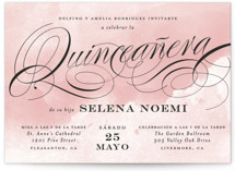 This is a pink sweet sixteen birthday party invitation by Jill Means called Dancing Script with standard printing on signature in standard.