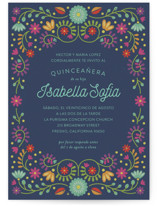 This is a blue sweet sixteen birthday party invitation by Laura Hankins called Fiesta Floral with standard printing on signature in standard.