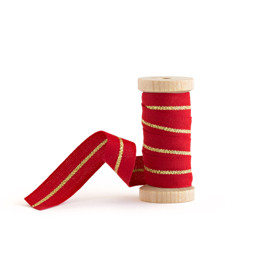 This is a gold wedding ribbon by Minted called Red & Gold Metallic Stripe.