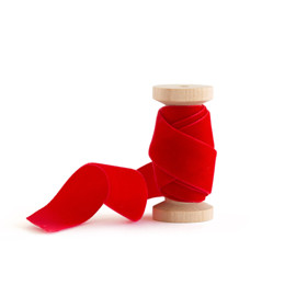 This is a red wedding ribbon by Minted called Red Velvet.