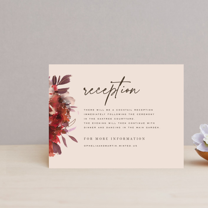 """Autumn Hymnal"" - Foil-pressed Reception Cards in Blush by Leah Bisch."