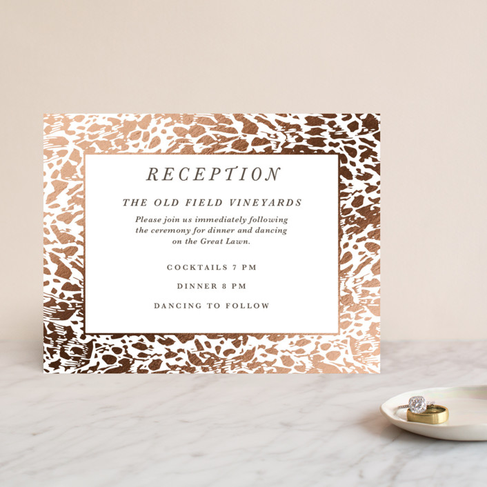 """""""Wild Blooms"""" - Foil-pressed Reception Cards in Poppy by Christie Kelly."""
