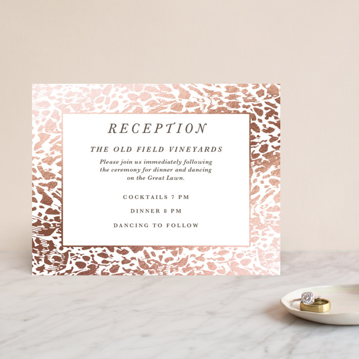 """Wild Blooms"" - Foil-pressed Reception Cards in Poppy by Christie Kelly."