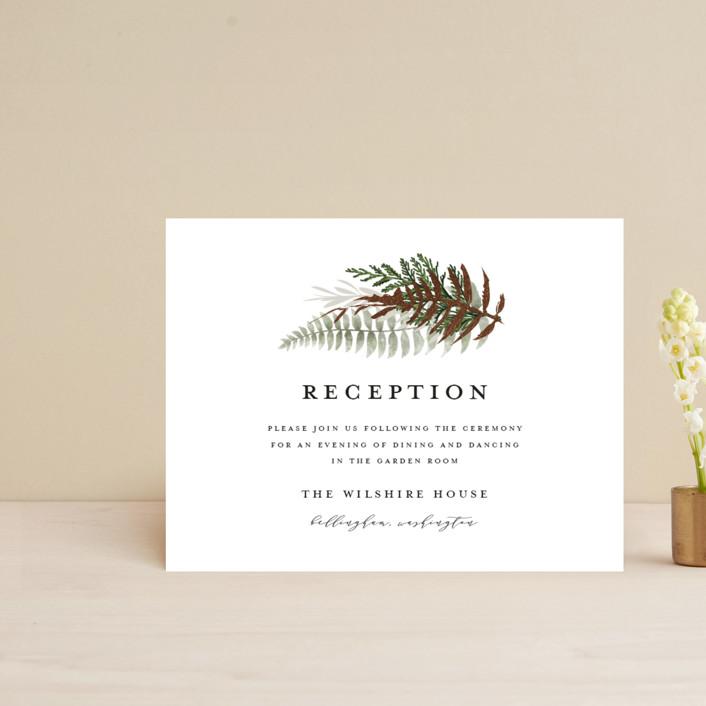 """Fresh Vines"" - Rustic Foil-pressed Reception Cards in Fern by Susan Moyal."