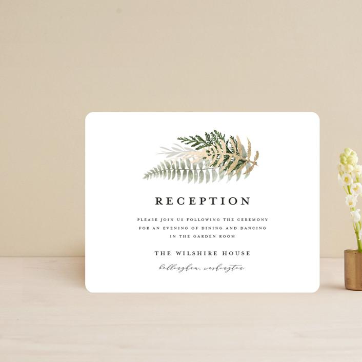 """Fresh Vines"" - Foil-pressed Reception Cards in Fern by Susan Moyal."