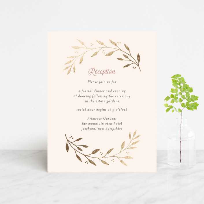 """Vineyard"" - Foil-pressed Reception Cards in Blush by Tennie and Co.."