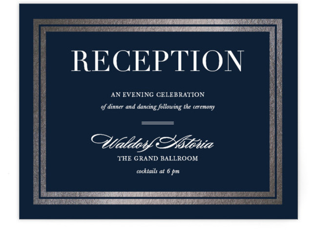 This is a landscape classic and formal, navy Reception Cards by Stacey Meacham called Gilded Frame with Foil Pressed printing on Signature in Card Flat Card format. An ultra chic wedding invitation with foil frame and classically modern text.