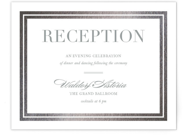 This is a landscape classic and formal, silver Reception Cards by Stacey Meacham called Gilded Frame with Foil Pressed printing on Signature in Card Flat Card format. An ultra chic wedding invitation with foil frame and classically modern text.