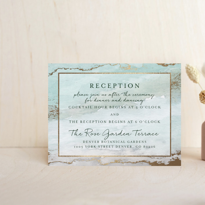 """Gilded Shore"" - Rustic, Bohemian Foil-pressed Reception Cards in Aventurine by Grace Kreinbrink."