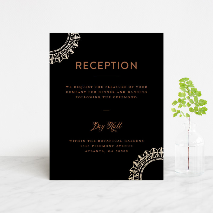 """mandala"" - Bohemian Foil-pressed Reception Cards in Midnight by Char-Lynn Griffiths."