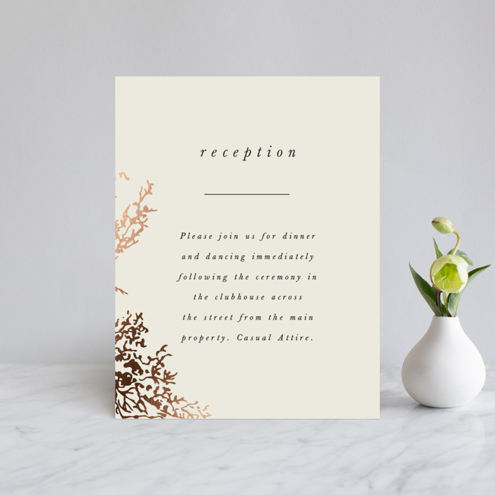 """Olivia"" - Foil-pressed Reception Cards in Taupe by Hannah Williams."