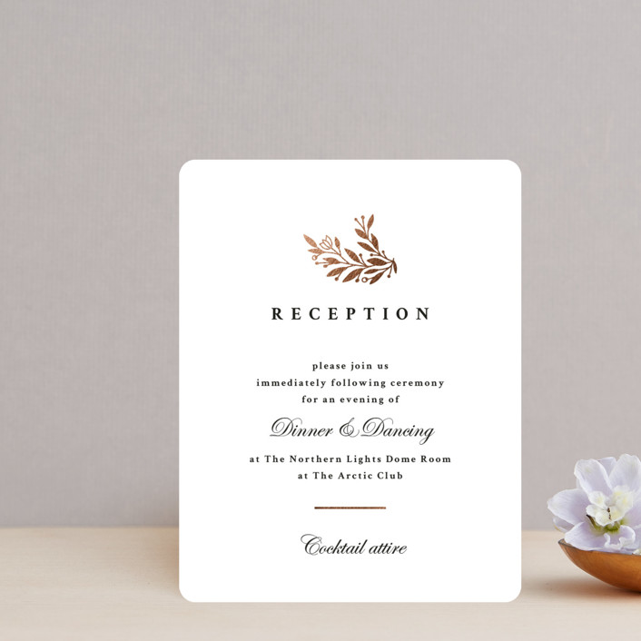 """""""Floral Ampersand"""" - Foil-pressed Reception Cards in Tuxedo by Jana Volfova."""