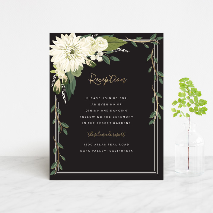 """""""Garden Blooms"""" - Foil-pressed Reception Cards in Ivory by Susan Moyal."""