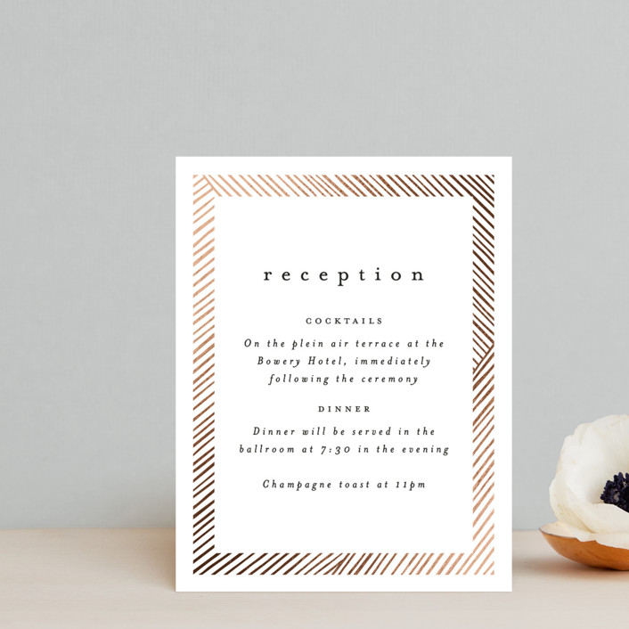 """""""Lineup"""" - Modern Foil-pressed Reception Cards in Linen by Annie Shapiro."""