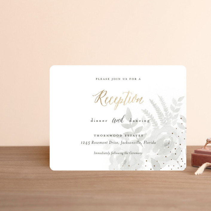 """Watercolor Floral"" - Foil-pressed Reception Cards in Fog by Jill Means."