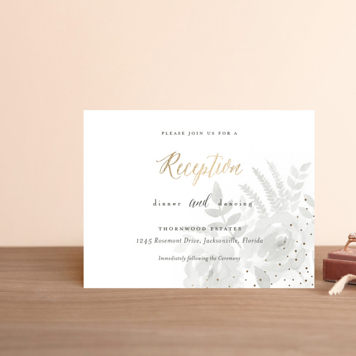 """""""Watercolor Floral"""" - Foil-pressed Reception Cards in Fog by Jill Means."""