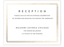 This is a black and white foil stamped wedding invitation by Stacey Meacham called Elegantly Framed with foil-pressed printing on signature in standard.