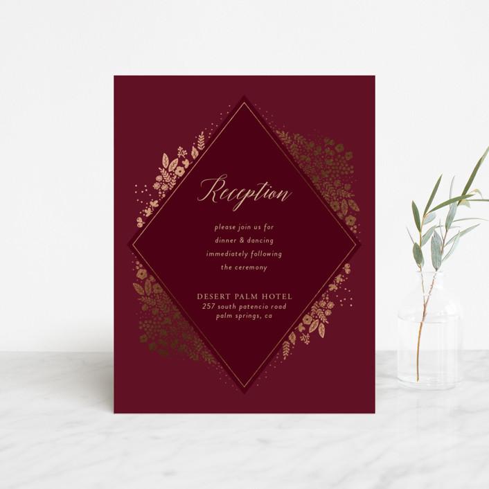 """Millefleur"" - Foil-pressed Reception Cards in Burgundy by My Splendid Summer."