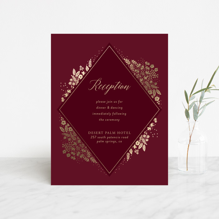 """Millefleur"" - Foil-pressed Reception Cards in Burgundy by My Splendid Summer."