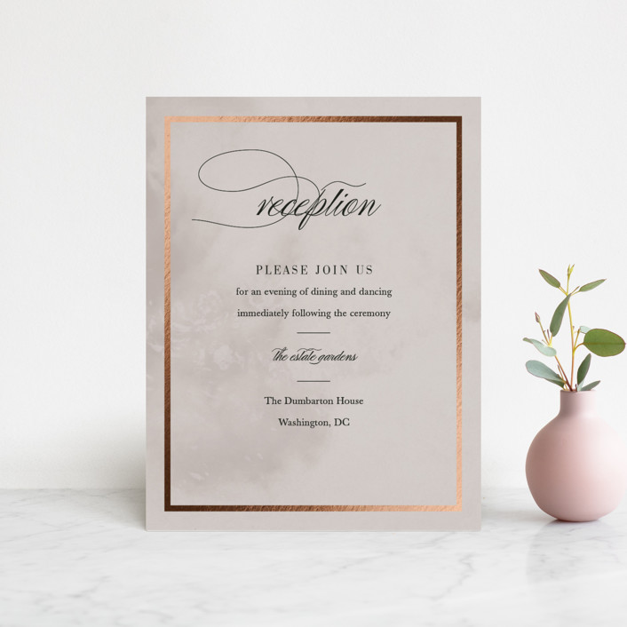 """""""Polished"""" - Foil-pressed Reception Cards in Smoke by Pine and Lark."""