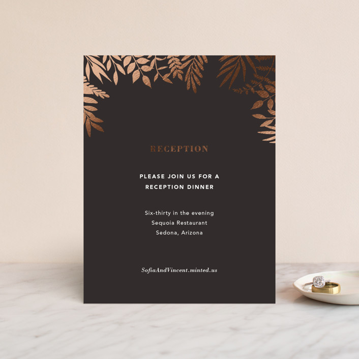 """Garden"" - Foil-pressed Reception Cards in Midnight by Joyce Pinheiro."