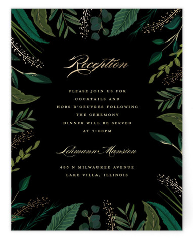 This is a botanical, painterly, black, gold Reception Cards by Susan Moyal called Emerald Leaves with Foil Pressed printing on Signature in Card Flat Card format. This wedding invitation design features a frame of emerald colored greenery