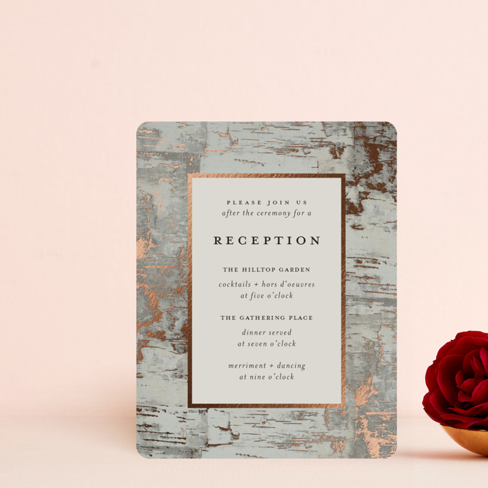 """""""Gilded birch bark"""" - Rustic Foil-pressed Reception Cards in Clay by Heather Schertzer."""