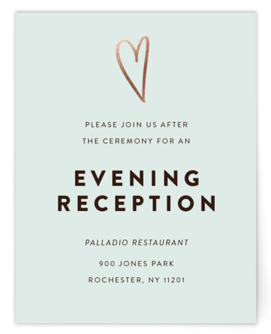This is a modern, simple and minimalist, green, rosegold Reception Cards by Up Up Creative called Outline with Foil Pressed printing on Signature in Card Flat Card format. A minimalist wedding invitation topped with a sweet but not sappy hand ...