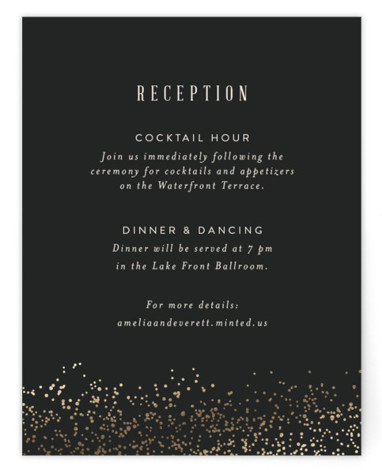 This is a black Reception Cards by Julie Murray called Raleigh Floral with Foil Pressed printing on Signature in Card Flat Card format. Foil pressed, hand illustrated botanical elements frame simple, classic typography in a classic wedding invitation