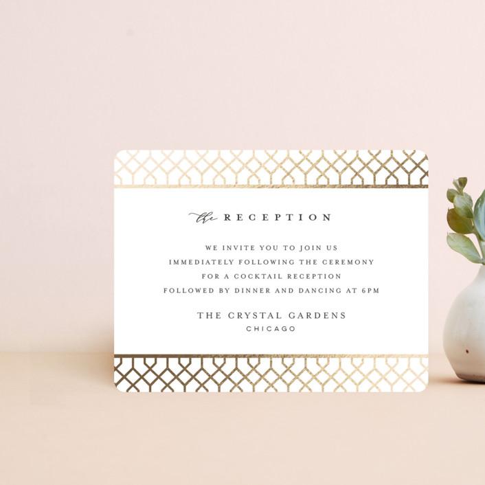 """trellis"" - Foil-pressed Reception Cards in Flaxen by Melanie Kosuge."
