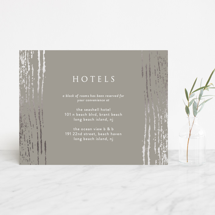 """""""Barn Wood"""" - Foil-pressed Reception Cards in Charcoal by Julia Hall."""