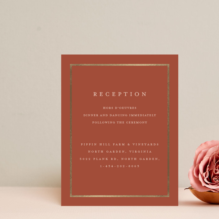 """Al Fresco"" - Foil-pressed Reception Cards in Forest Green by Lucrecia."