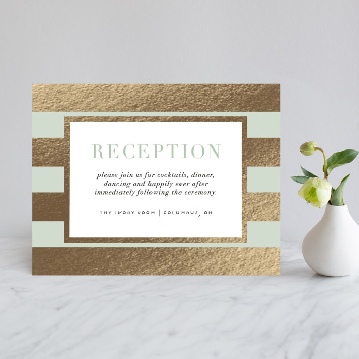 """""""Romantic Stripes"""" - Preppy Foil-pressed Reception Cards in Jade by Cheer Up Press."""