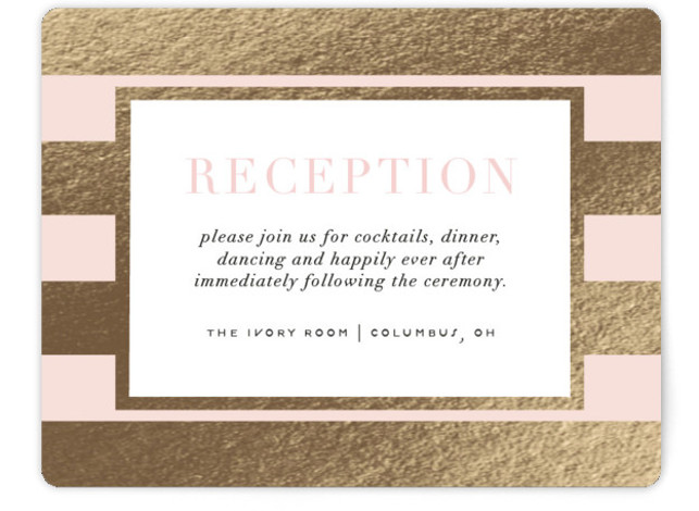 This is a landscape bold and typographic, preppy, pink Reception Cards by Cheer Up Press called Romantic Stripes with Foil Pressed printing on Signature in Card Flat Card format. A beautiful sage green pairs with real gold foil stripes to ...