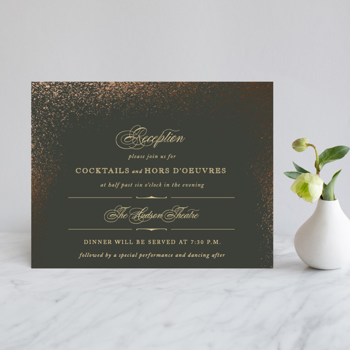 """""""Golden Dust"""" - Elegant, Classical Foil-pressed Reception Cards in Charcoal by fatfatin."""