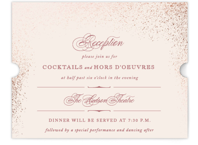 This is a landscape classical, elegant, formal, metallic, pink Reception Cards by fatfatin called Golden Dust with Foil Pressed printing on Signature in Card Flat Card format. A stylish design with a clean layout featuring sprinkles of gilded gold dust ...