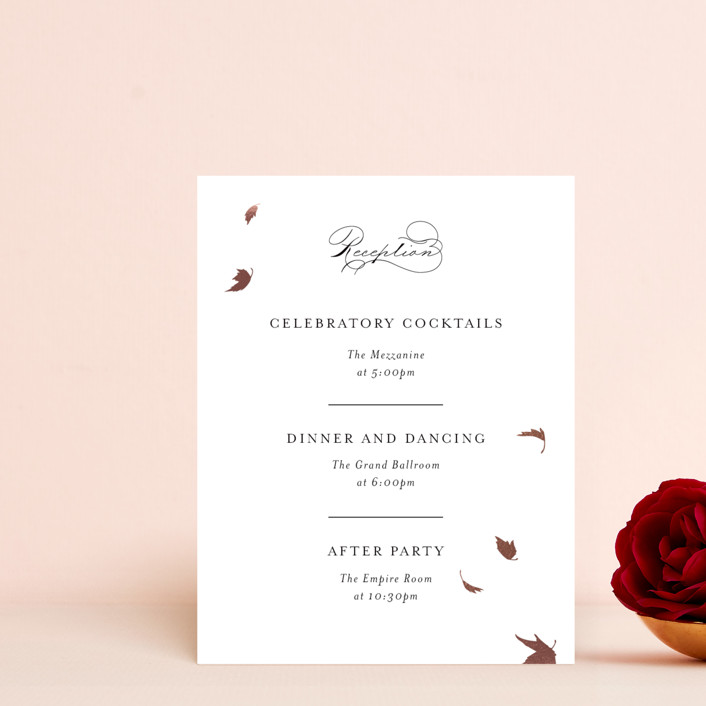 """""""Pirouette"""" - Rustic Foil-pressed Reception Cards in Noir by Kimberly FitzSimons."""