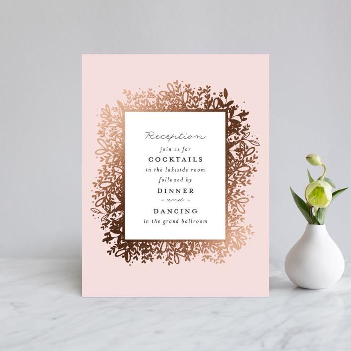 """""""Gem"""" - Rustic Foil-pressed Reception Cards in Blush by lena barakat."""