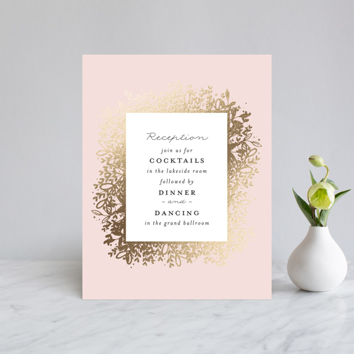 """Gem"" - Rustic Foil-pressed Reception Cards in Blush by lena barakat."
