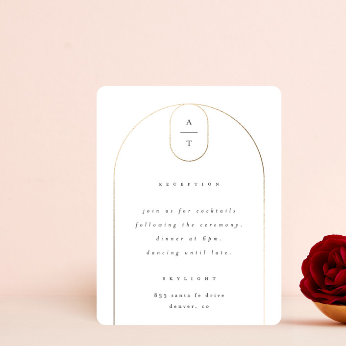 """""""Arch"""" - Foil-pressed Reception Cards in Silk by Kelly Schmidt."""