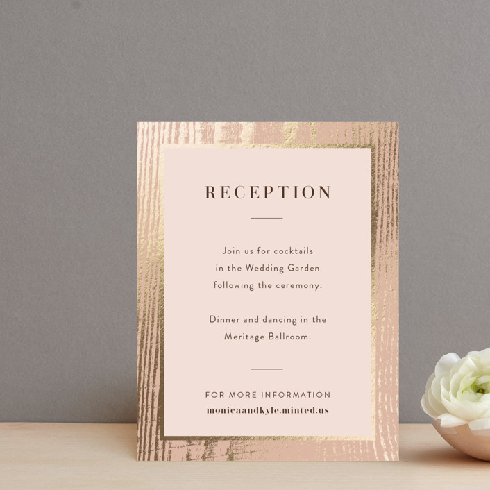 """barn door"" - Rustic Foil-pressed Reception Cards in Blush by Robin Ott."