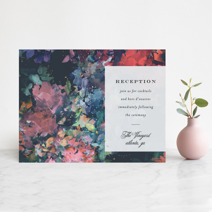"""""""Impressionist"""" - Rustic Foil-pressed Reception Cards in Jewel by Lori Wemple."""