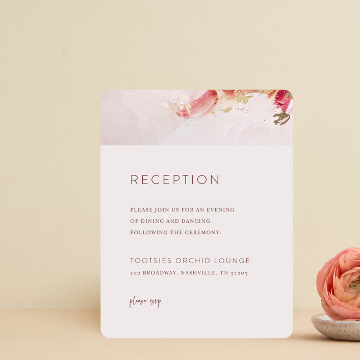 """""""Warm Love"""" - Foil-pressed Reception Cards in Wine by Lucrecia."""