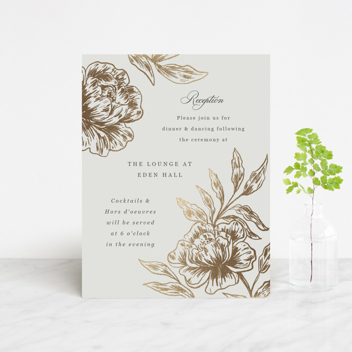 """""""Loving"""" - Foil-pressed Reception Cards in Stone by Elly."""