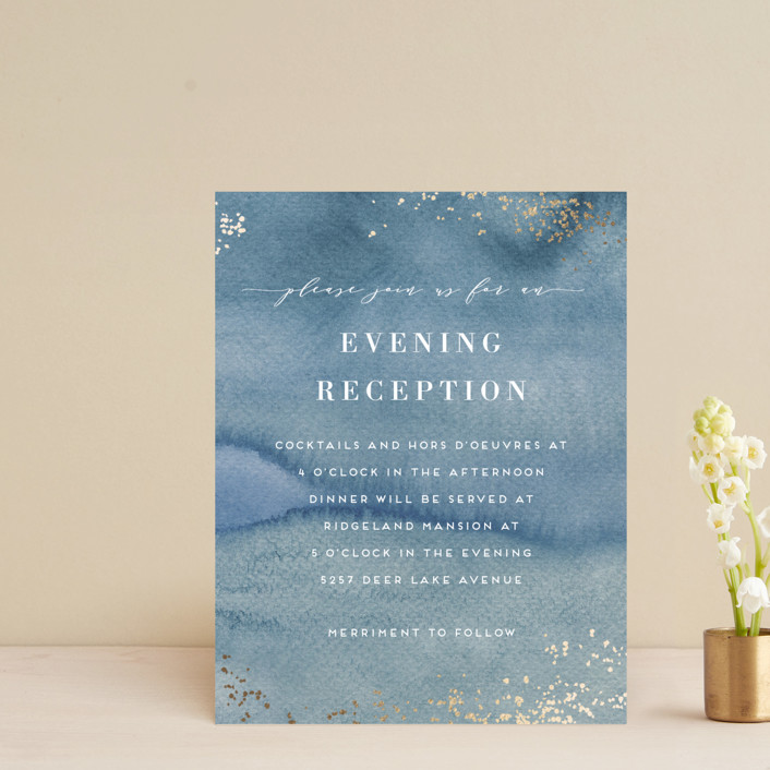 """""""Abstract seaside"""" - Bohemian Foil-pressed Reception Cards in Seaside by Alexandra Dzh."""